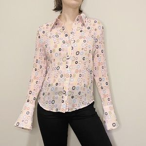 Vintage Style Pink Button Up Accordian Pleat Shirt
